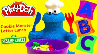 LEARN ABC with PLAY DOH COOKIE MONSTER LETTER LUNCH SET Play Dough Sopa de Letrinhas Come-Come
