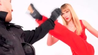 Blonde Karate/MMA Girl knocks out Attacker. Fight with K.O.