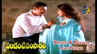 Prithvi & Ravali Love Scene | Pandanti Samsaram | Krishna | Ravali | ETV Cinema