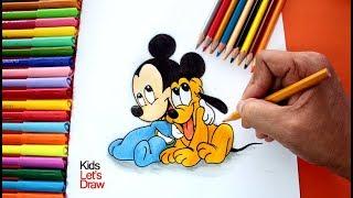 Dibujando a Mickey Mouse y Pluto Bebés   Dibujos de Mickey Mouse fáciles para Niños