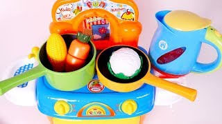 Cooking Kitchen Pots Pans Toys Playset Pretend Food for Children