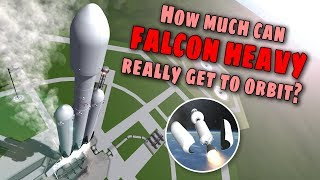 SpaceX Falcon Heavy Maximum Payload to Orbit with Booster Landings - Simulation in KSP