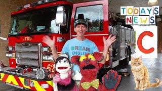 Today's News Show With  Matt | Fire Truck & Letter C | Learn English Kids