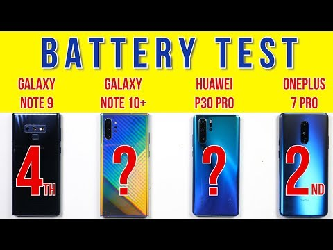 Samsung Note 10 vs Huawei P30 Pro OnePlus 7 Pro Note 9 Battery Drain Charging Test