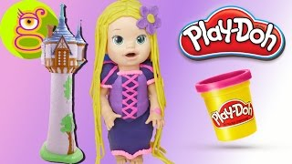¡Cómo hacer el VESTIDO de RAPUNZEL 👸 con PLAYDOH PLASTILINA para tu muñeca BABY ALIVE! - DIY