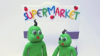 Green Superhero Babies -in- SUPERMARKET SHOPPING DAY - Stop Motion Cartoons For Kids
