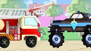 Fire truck, school bus, police car | Pipo and his tow truck | Cartoon for children like Minecraft