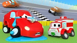 The Accident of Jerry the racing car ! Amber the Ambulance in Car City 🚓 🚒 l Cartoons for Children