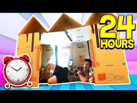 24 HOUR GIANT BOX FORT SURVIVAL CHALLENGE 📦🏠