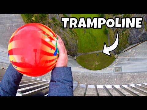 BOWLING BALL Vs. TRAMPOLINE from 165m Dam
