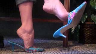 High heel mules and bare feet FootFetishKitten