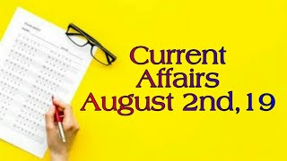 Current Affairs August 2nd for AIIMS