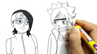 cara menggambar anak naruto, boruto dan anak sasuke, sarada