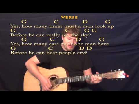 Blowin' In The Wind (Bob Dylan) Strum Guitar Cover in G with ChordsLyrics