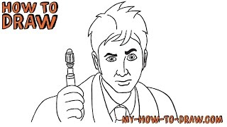 How to draw Doctor Who - 10th Doctor - Step-by-step drawing tutorial
