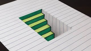 How to Draw 3D Steps in a Hole - Line Paper Trick Art