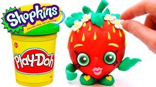 Shopkins Play Doh STOP MOTION videos Strawberry Kiss claymation plastilina playdough