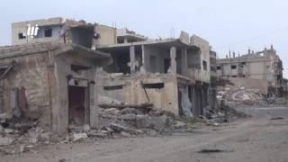 شوارع أحياء مدينة درعا بعد 40 يوم من القصف اليومي بالطيران والمدفعية والصواريخ