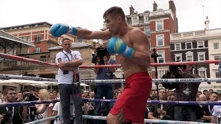 Golovkin vs. Brook - Gennady Golovkin shows KO power on mitts in Media Workout