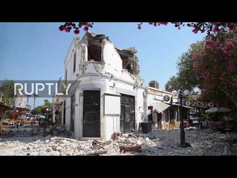 Greece: Drone captures earthquake damage on holiday island of Kos
