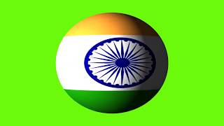 Green screen Indian flag global spinning green