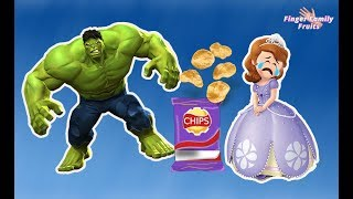 Sofia The First Delicious Chips Challenge! Bad Hulk Steals Chips Sofia Crying Finger