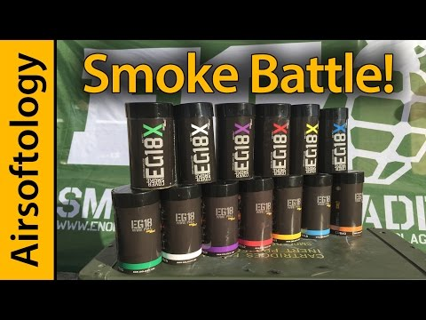 Smoke Grenade Battle: Enola Gaye's EG18X vs EG18 | Airsoftology