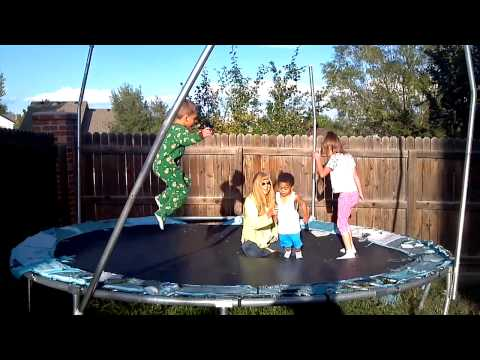 My step mom with kids on trampoline