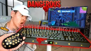 Playing Fortnite With *MOST DANGEROUS KEYBOARD☠️😨* Challenge Goes Wrong... | David Vlas