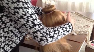 Topuz tokasıyla okul saçı yapımı