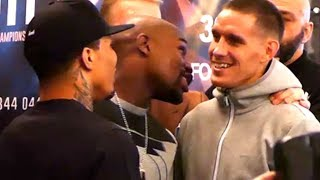 FLOYD MAYWEATHER AND GERVONTA DAVIS TRADE WORDS WITH LIAM WALSH DURING ANIMATED FACE OFF