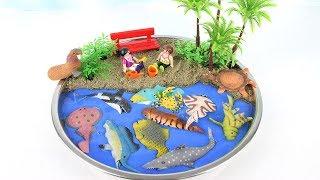 Learn Names of Sea Animals For kids DIY Mini Beach Ocean sand Sea Animals with Dolphin Shark Lobster