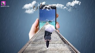 3D Mobile Out Of Bridge - Mobile Manipulation In Photoshop - Photoshop Tutorial