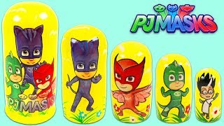 Learn Colors and Sizes with PJ MASKS Nesting Dolls Stacking Cups!