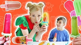 فوزي موزي وتوتي|  مع توتي | بوظة توت وموز | Strawberry and banana ice pop