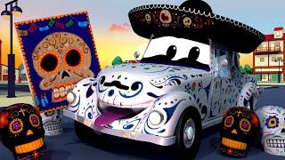 Tom the Tow Truck is Disney Pixar Coco - DIA DE LOS MUERTOS with The Car Patrol in Car City