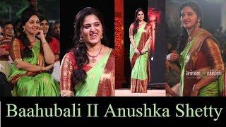Woww! Gorgeous Cute Angel Anushka Shetty   Green saree  Baahubali2tamilAudiolaunch