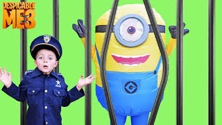 Universal Despicable Me 3 Gru and Minion Stuart meet Kid Cops Silly Funny YouTube kids video
