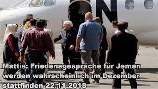 Mattis: Friedensgespräche für Jemen werden wahrscheinlich im Dezember stattfinden 22.11.2018