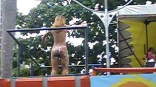 (Part 14 of 19) Naked woman on a Carnival parade, watching from a camarote in Salvador, Brazil