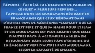 Faites la hijra ô musulmans ! Quittez la France ! - Cheikh el-Barrâck