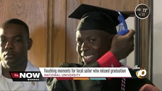 Touching moments for local sailor stuck on a ship for his graduation
