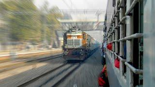 Shatabdi Express @102KMPH Overtaking Ranikhet Express at Khairthal - Indian Railways !!
