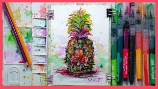 Pineapple in Marker & Colored Pencil Real-Time sketch! Fast & Fun!