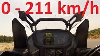 Honda CRF1000L Africa Twin - Acceleration 0-211km/h & Startup & Exhaust Sound & Burnout & Wheelie