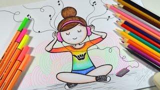 Como desenhar Bonequinha Tumblr Ouvindo Música #arteeciabrasil