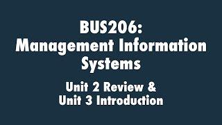 Management Information Systems: Unit 2 Review & Unit 3 Introduction