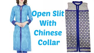 How To Cut And Stitch Open Slit  Kurti With Chinese Collar