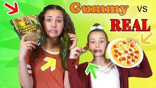 GUMMY FOOD vs. GROSS REAL FOOD! (Alligator, Snails & Sardines)