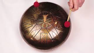 "12"" 10 Notes Steel Tongue Drum ""Tree"" A Minor Tankdrum"